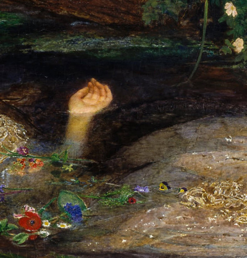 oraclesofthefortuneteller:  Sir John Everett Millais, Ophelia (detail), 1851