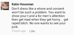 stfuhatemongers:  Katie Housman thinks men can't control themselves and go into a frenzy at the mere sight of exposed flesh.