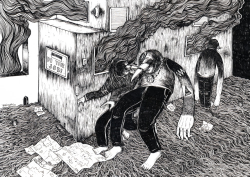 """OFFICE FIRE""Pen on paper, 2013297mm x 420mm"