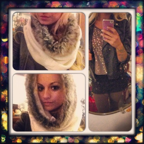 It's a scarf and a hoodie ❤ #style #stylist #prettylillylutka #pretty #sparkle #sequins #leather #pleather #jacket #rock #blonde #fur #faux #fashion #nyc #pink #green #black