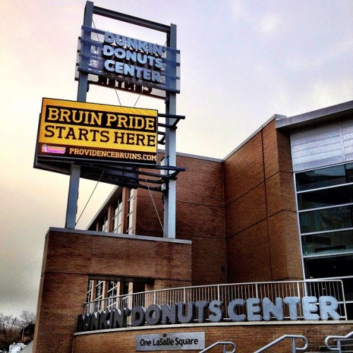 "Sign outside The Dunk in #Providence - ""Bruin Pride Starts Here"""