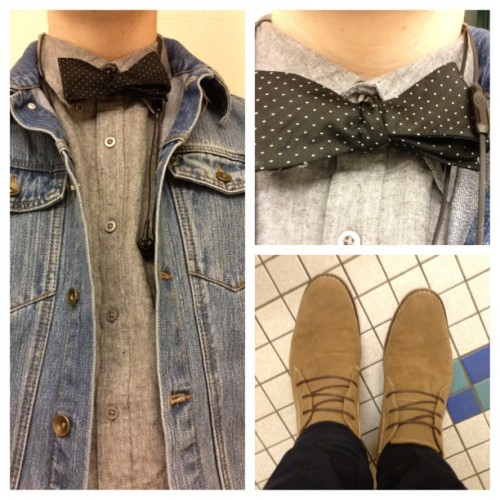 #ootd #denim #vest #dapper #bowtie