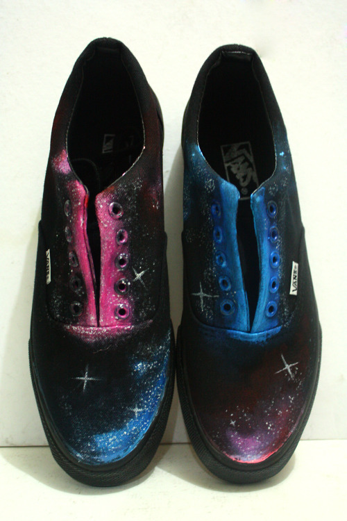 Galaxy designed hand painted sneakers  Shoe Types: Black soled Vans Shoe Stringed Black and Pink Vans Shoe Stringed White Advan Slip Ons