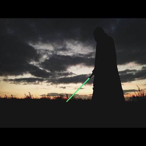 So this happened tonight. This is just a iPhone shot. #starwars #jedi #epic #clouds #lightsaber #iPhone5 #vscocam