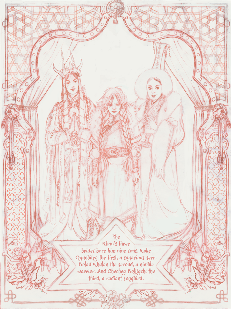 The Three Princes Intro page 3.  This is just the lineart, I need to paint it tonight