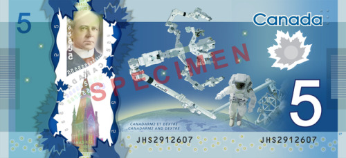 laughingsquid:  Canada Unveils New Space-Themed $5 Bill