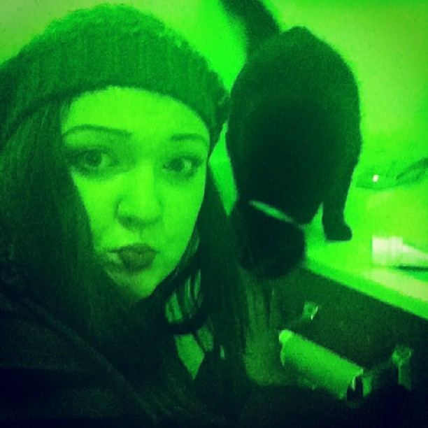 My WTF picture of the night. #noTP #green #creepy #bathroom #cat #drunk #neon #sexy #funny #wtf