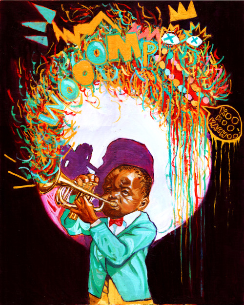 Monstah in my Trumpet!!!! Oil on canvas 16x20. art by CGEsperanza 2013