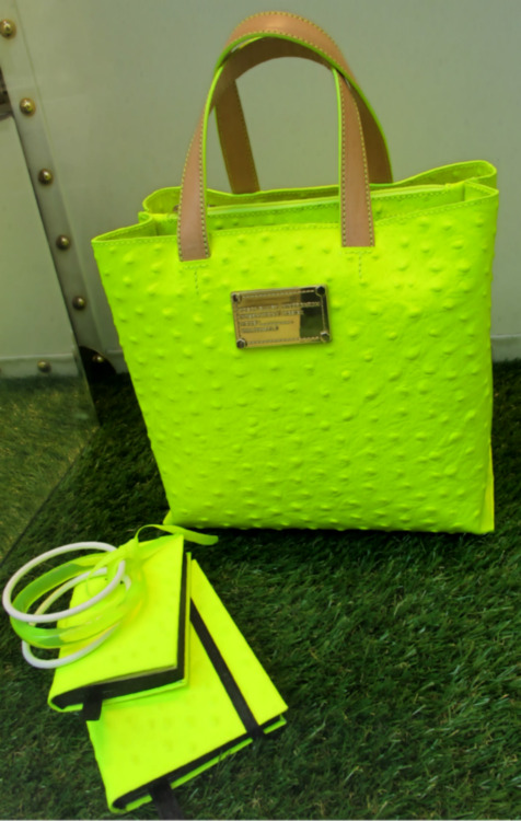 Sunglasses at the ready for the fluoro accessories at Tosca! WGSN store shot, Milan