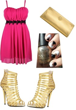 Pink dress par yassour utilisant talons hautsGiuseppe Zanotti talons haut / Tory Burch evening clutch
