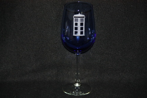 Glass Set Giveaway - Custom Etched Doctor Who Wine GlassesSponsored by Fanboy Glass Whovians, get ready to get classy! Fanboy Glass has donated two of their wonderful blue TARDIS etched wine glasses for us to give away.   To enter: Like or Reblog this post on Tumblr before 12:00 PM on Saturday (April 13, 2013). At noon we will draw a random name and announce the winner!  Doctor Who TARDIS Custom Etched Wine Glass by Fanboy Glass - $14.99