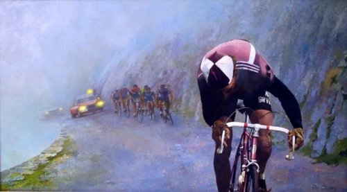 "coppious:  This is one of my all-time favorite cycling images. We see a courageous Federico Bahamontes ""El águila de Toledo"" (The eagle of Toledo) climbing away from the breakaway group. Since he was a very poor descender and sometimes refused to go downhill alone ""…he reached the top minutes before the chase group arrived, and famously passed the time eating ice cream by the side of the road.""  Panache! (x)"