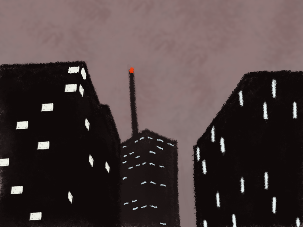 Environment Challenge day 3 - urban kinda wish i'd gone with a daylight scene, because i didn't challenge myself with this one. maybe i'll just do this challenge again at some point later in the year. but i'm also learning a new painting program, so i'm not gonna get too hung up about it. things i learned from this drawing GIMP doesn't play nice with a Wacom stylus unless you make it what the hell is going on with the lasso tool oh my god