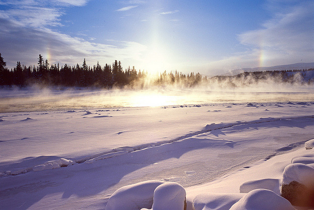 Sun dogs over the Yukon River