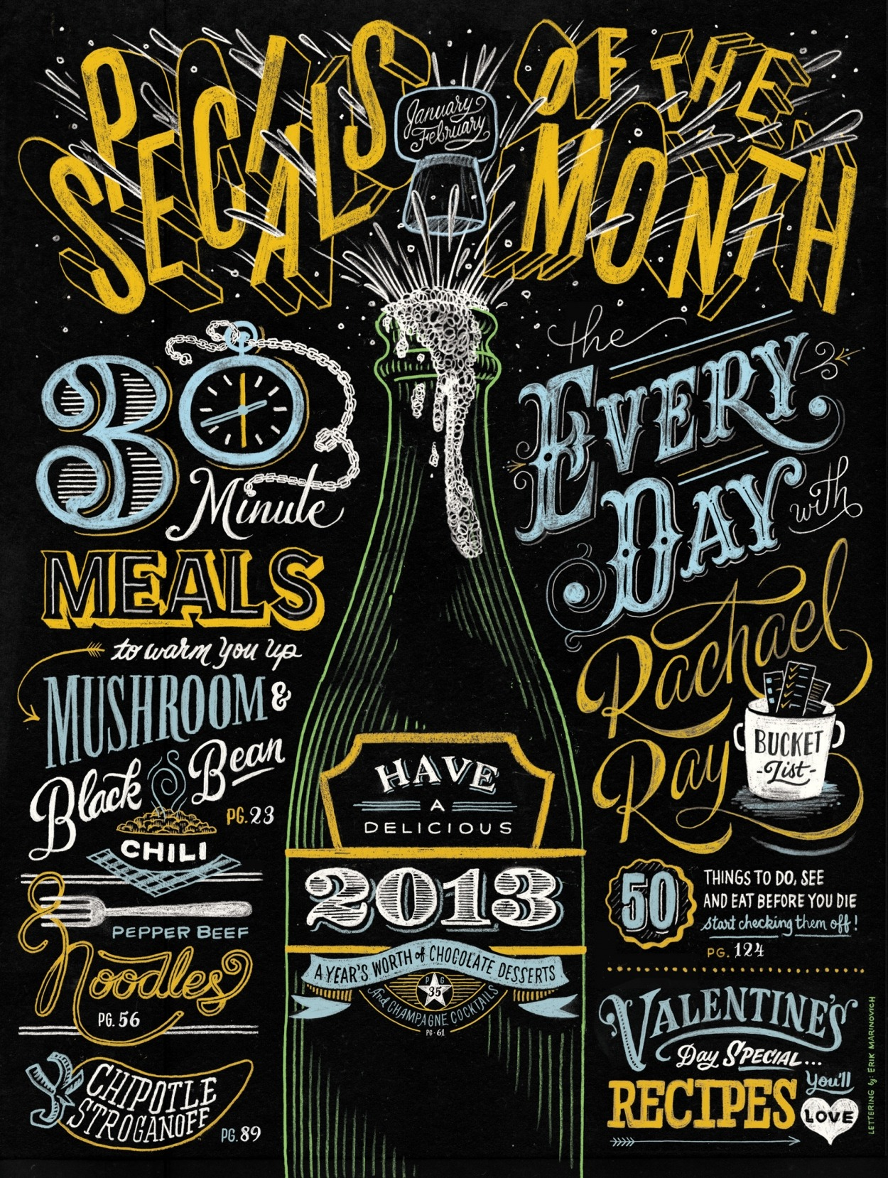 king-george:  typeverything: Typeverything.com - Rachel Ray Mag by Erik Marinovich (via Friends of Type)