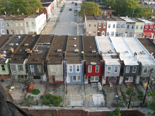 View of Eastside rowhouses from American Brewery building, September 2008