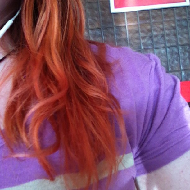 My ends are pink now, awesome. I may just start toning them pink :3 I'll see how it looks styled later. #adventuresinhairstyling (at Greyhound Canada‎)