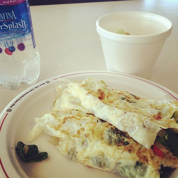 Egg white omelette with vegetables and a side of fruit. #fit #healthy #weightloss