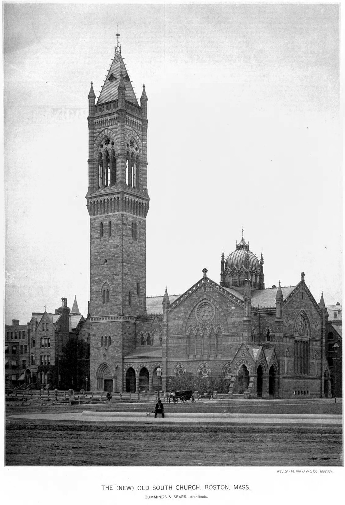 archimaps:  The Old South Church, Boston  A classic photo of one of my favorite pieces of Boston architecture.  The campanile was rebuilt in 1940 and is shorter today than it it in this photo.