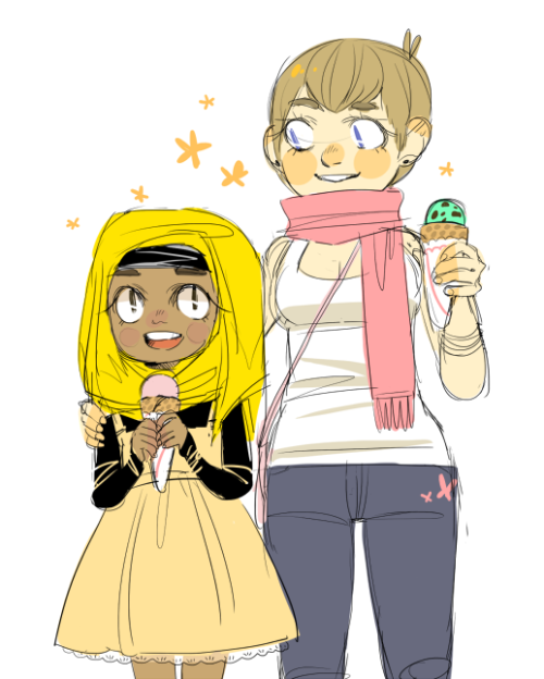 8oo:  human versions of pashmina and penelope   i think i made pashmina's hair to dark here but ok