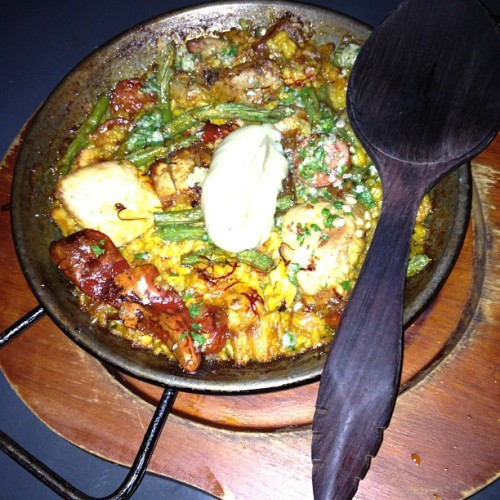 Chicken and #pork #chorizo #paella  (at Bomba Paella Bar)