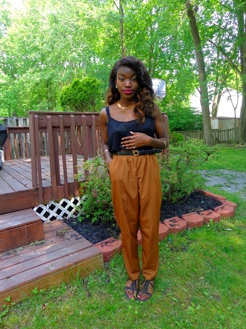 blackfashion:  Thrifted chiffon tank, thrifted pants, thrifted belt, forever21 sandals tumblog | personal blog
