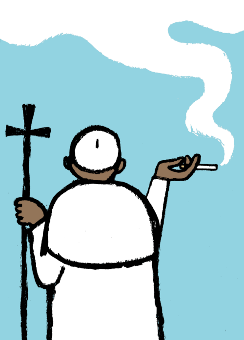 white smoke, new pope. Illustration by Jean Jullien. Read the related article.