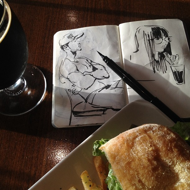 #grateful #thankyou #food #goldenstate #blt #beer #drawing #sketch #sketchbook #moleskine #brushpen #ink #illustration #art #hollywood  (at The Golden State)