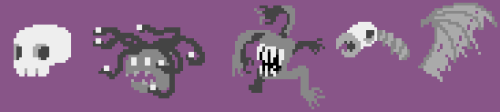 I got bored so i did some pixel doodling, starring skulls and medusas as always and then i did a 40k monster and i started copying a picture of a zombie bird thing from an old warhammer fantasy book i found and then i got frustrated and left it barely started ok bye
