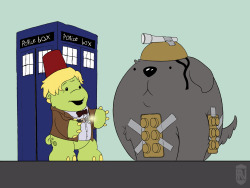rwnelson:  Fan art for Gronk/Doctor Who for Katie Cook.