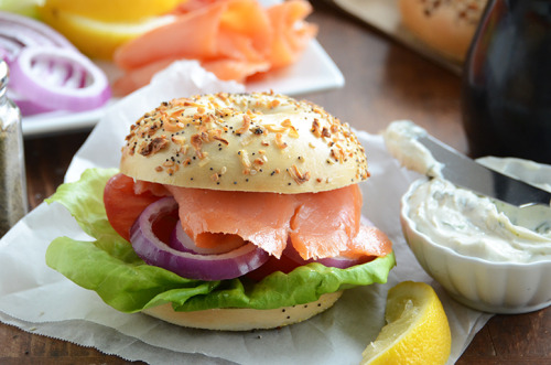 fattributes:  Butter Lettuce, Lox, and Tarragon Schmear Bagel Sandwiches