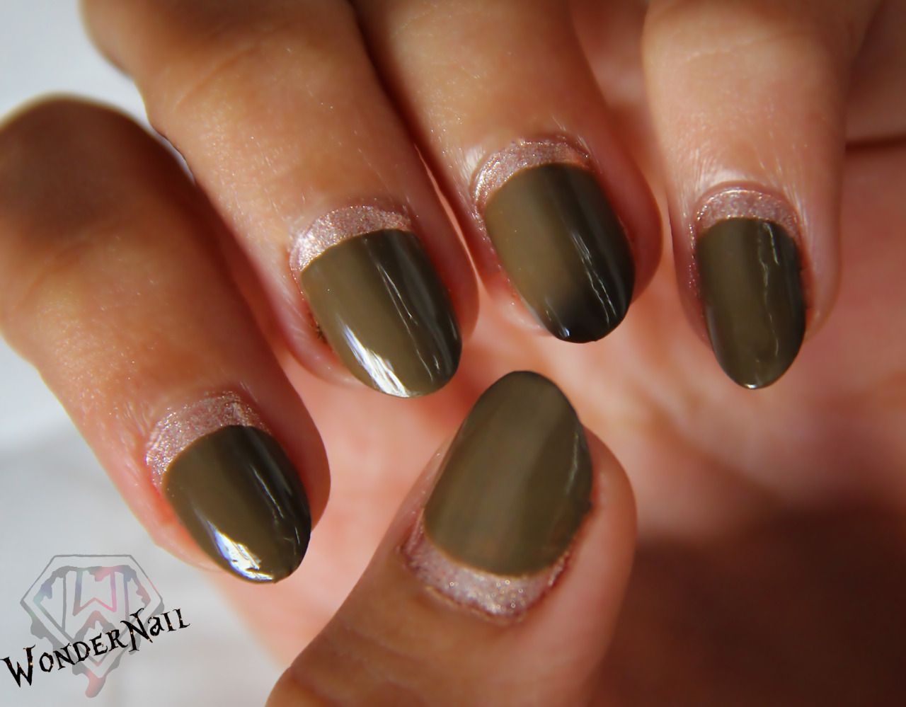 ruffian manicure using OPI a-tuape the space needle and Sephora by OPI chestnuts about you