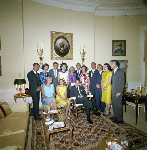 "jfklibrary:  50 Years Ago Today - Mercury 7 Astronauts Visit the White House (From L-R): Major L. Gordon Cooper, Lieutenant Colonel Virgil I. ""Gus"" Grissom, Major Donald K. ""Deke"" Slayton, Lieutenant Commander Walter Schirra, Lieutenant Commander M. Scott Carpenter, Commander Alan B. Shepard, and their wives visit the White House  You know what my favourite episode of ""From the Earth to the Moon"" was?  It was the one that featured the wives.  I think it was the second to last episode to be aired, but it featured the toll that the ambitions of astronauts placed on their families, especially their wives.  So, I have to ask… we couldn't take the time to identify the women in this photo?  Seriously?  To honour the help they were to the space program - how they were constant promoters of how ""excited and proud"" they were, when they were probably scared out of their minds that they would never see their husbands again?   These women were a crucial part of the Space program… they should be honoured, too."