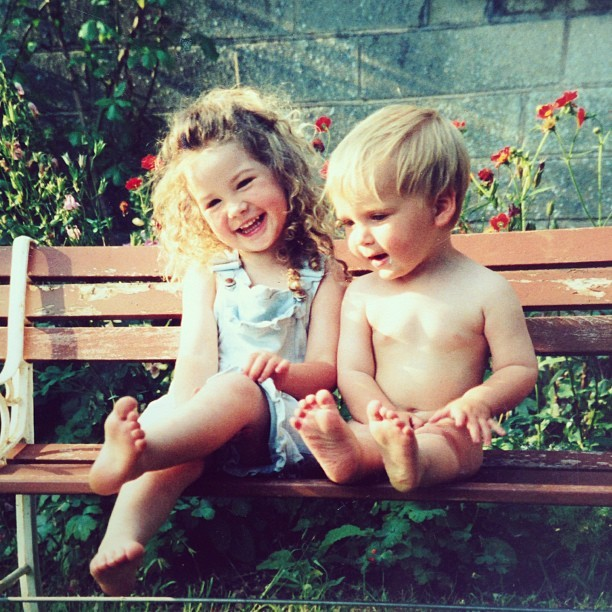 zoella:  I think I just found the cutest photo of @joe_sugg & I! Look at my hair!!!