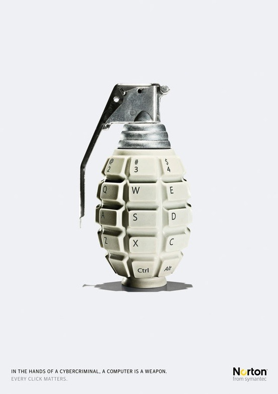 "gutewerbung:  Norton Internet Security ""Grenade"" Ad by Leo Burnett ""In the hands of a cybercriminal, a computer is a weapon. Every click matters."" Norton from symantec Advertising Agency: Leo Burnett"