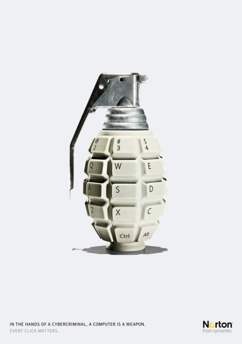 "parislemon:  gutewerbung:  Norton Internet Security ""Grenade"" Ad by Leo Burnett ""In the hands of a cybercriminal, a computer is a weapon. Every click matters."" Norton from symantec Advertising Agency: Leo Burnett  Great ad."
