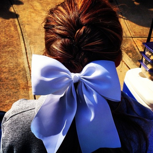 Typical Tournament hair 💁🎀 #softball #fastpitch #french #braid #hair #bow