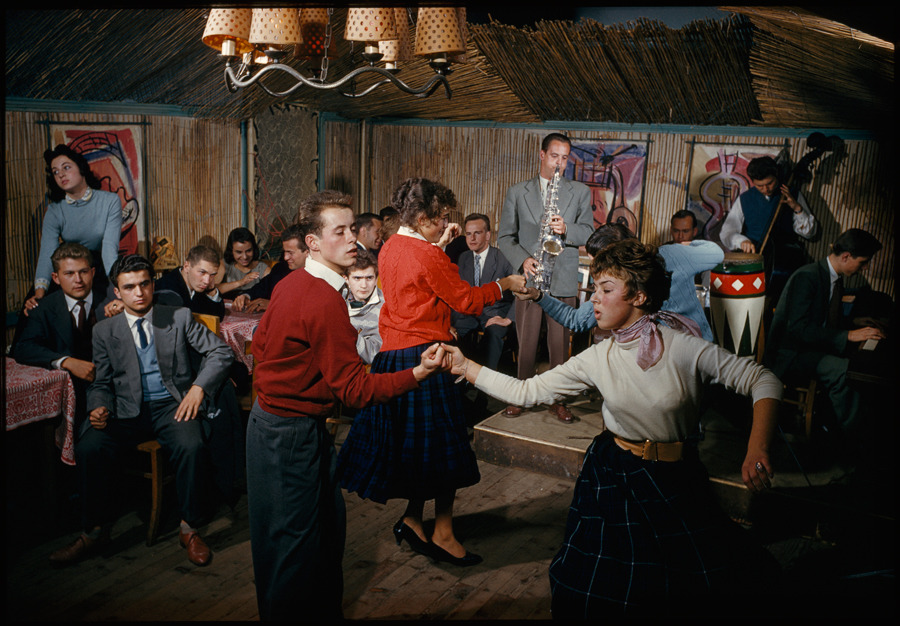 Students swing to a jazz band in a bamboo-lined student center in Vienna, February 1959.Photograph by Volkmar K. Wenztel, National Geographic