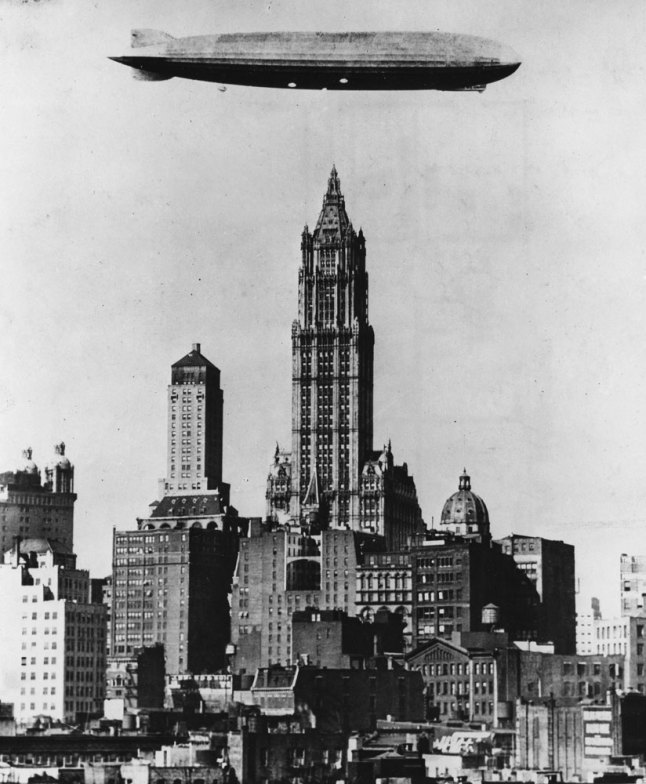 Zeppelin on the Skyline: German zeppelin seen above the Woolworth Building, New York City, 1928 (LIFE)