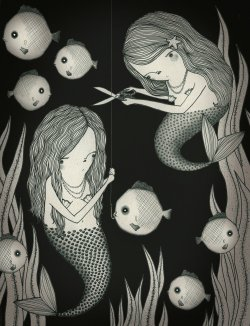 "Illustration for our class ABC book.   ""M"" is for merciful mermaids, who like to free fish from fishermen.   2012, ink, graphite, digital © Mai Ly Degnan"