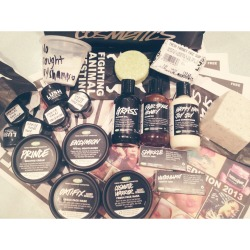 My first ever LUSH haul! Thank you mom for surprising me and helping me to prepare for surgery tomorrow: Ultrablast and Sparkle toothy tabs, Happ Happy Joy Joy vegan conditioner, Fair Trade Honey preservative free shampoo, Grass shower gel, Buffy bar, Oatifix and Cosmetic Warrior fresh face masks, Enzymion moisturizer, Prince shaving cream, Fresh Farmacy facial cleanser bar, Karma Komba solid shampoo bar, a sample of No Drought dry shampoo, and Helping Hands hand lotion samples for all of the nurses taking care of me 😍😍😍 #Ilovemyjob #LUSH #handmadefreshbodycare