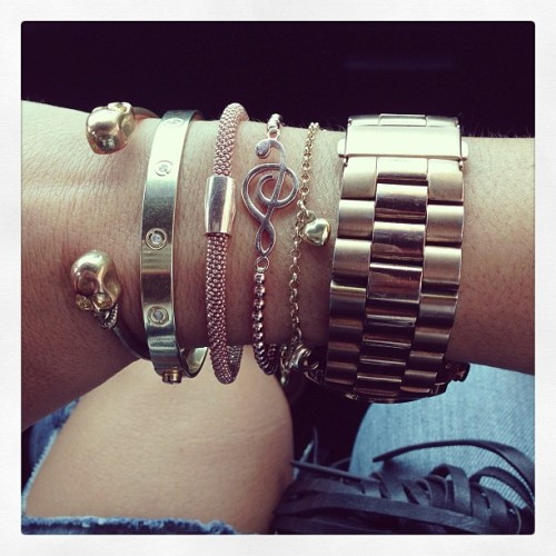 Arm candy by some of my favorite #jewelry #designers #luckyflirts #cartier #mollysanden #michaelkors follow the amazing @m0llys and check her amazing jewelry and sneaker line !! #instapic #instagood #fashion #want #cool #love #photooftheday