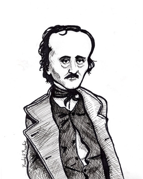 Edgar Allan Poe He had a very big forehead.  (original available here)