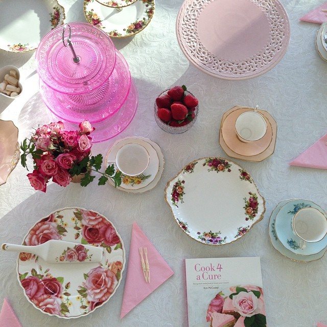 A high tea setting set for a Queen @nbcfaus @nbcf exciting times as the media interest starts for Cook 4 a Cure #cookbook raising much needed funds for breast cancer research #easy #everyday #entertaining ONLINE NOW www.4ingredients.com.au