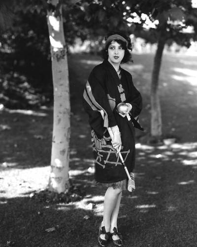 Estelle Taylor playing croquet in flapper style!