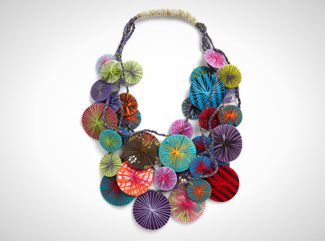 We totally fell in love with this colorful necklace at Brit HQ. Any ideas how we could make one ourselves?!? We're on the hunt for our next DIY copycat.