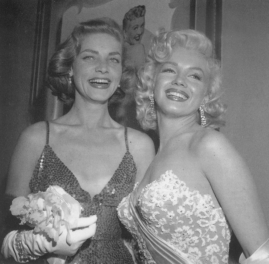 "Marilyn Monroe and Lauren Bacall at the premiere of  ""How to Marry a Millionaire"", 1953"