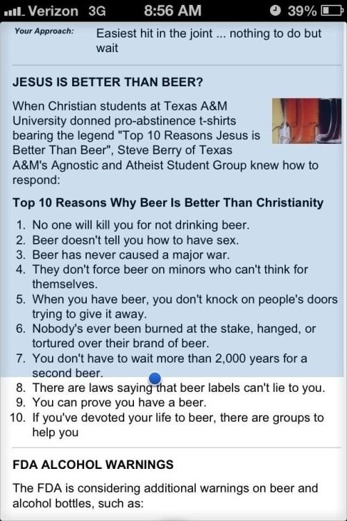 thelazyatheist:  A Texas A&M student has cracked the code as to why beer is better than christianity.