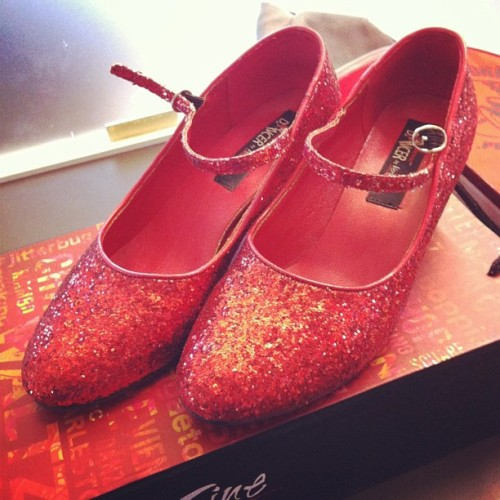 Found these at my desk this morning … Um, Dorothy? #rubyred #wizardofoz #shoes #office #gay #notmine