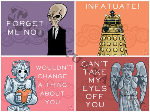 Etsy thing of the day: Doctor Who Valentines I hate to throw this at you so late, since Valentine's Day is tomorrow and there isn't time to have these shipped by tomorrow, but maybe if you have a bit of artistic talent it might inspire you to make your own Doctor Who valentines. Link